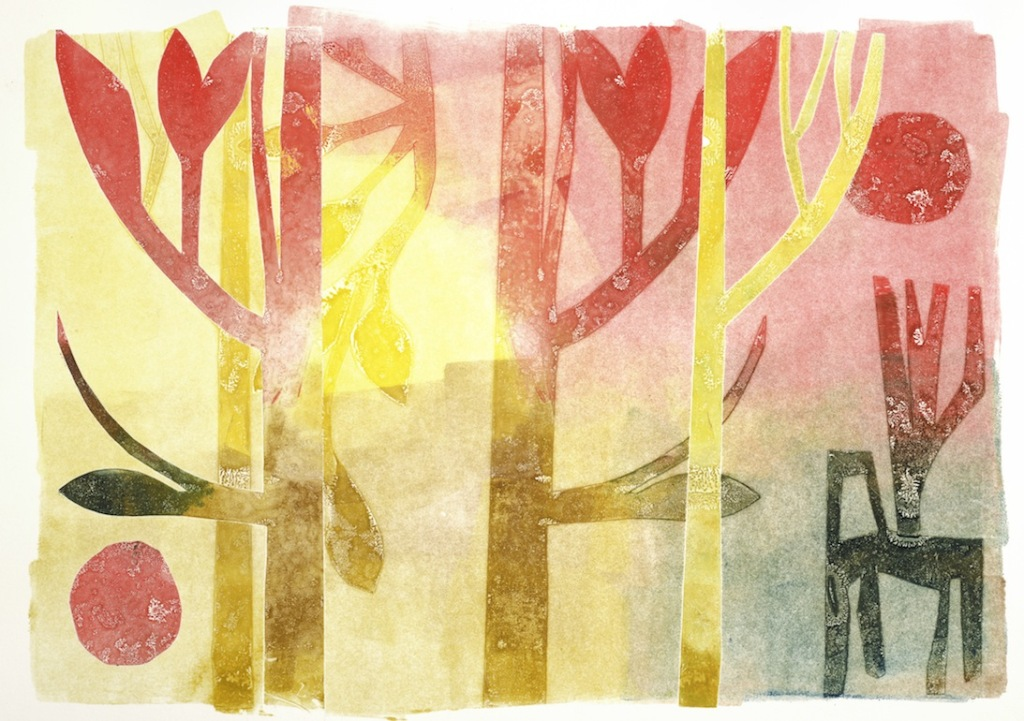 """""""Dawning"""" Monotype, 11x15"""" on Canson Edition paper. Ghost printing using brayers and Mylar pressings."""